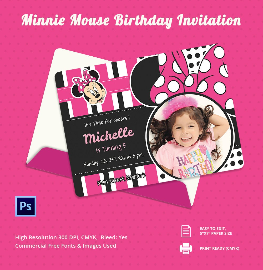 psd editable minnie mouse birthday invitation