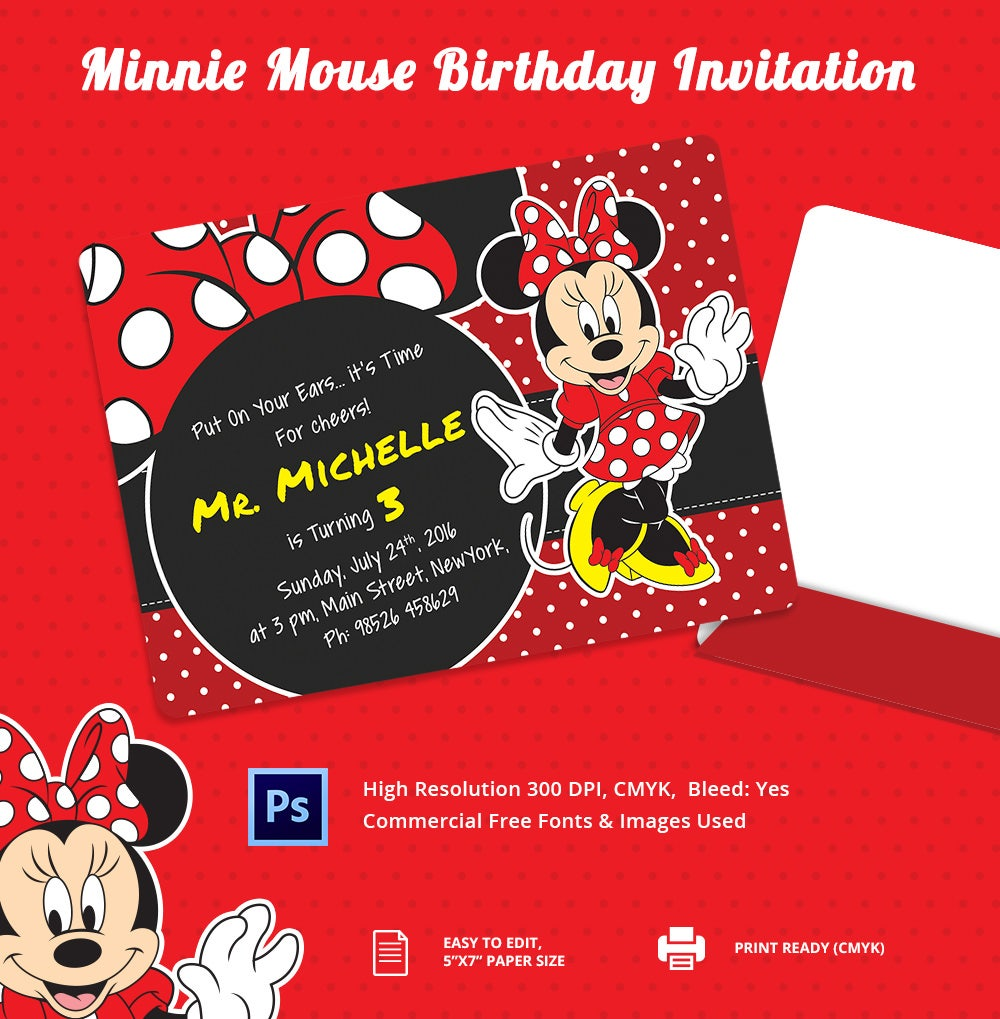 12+ Minnie Mouse Birthday Invitation Template - Free PSD, AI, Vetcor ...