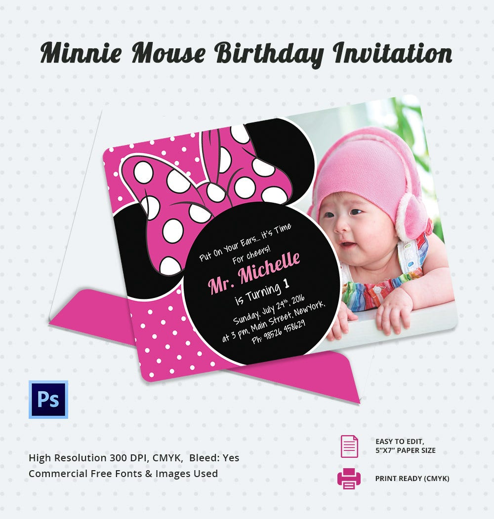 Minnie Mouse Birthday Invitation Template – 12+ Free PSD, AI, Vetcor ...
