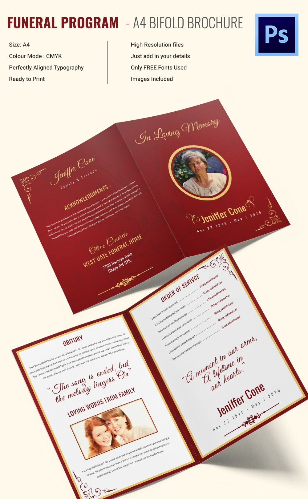 Funeral invitation template 12 free psd vector eps ai for One fold brochure template