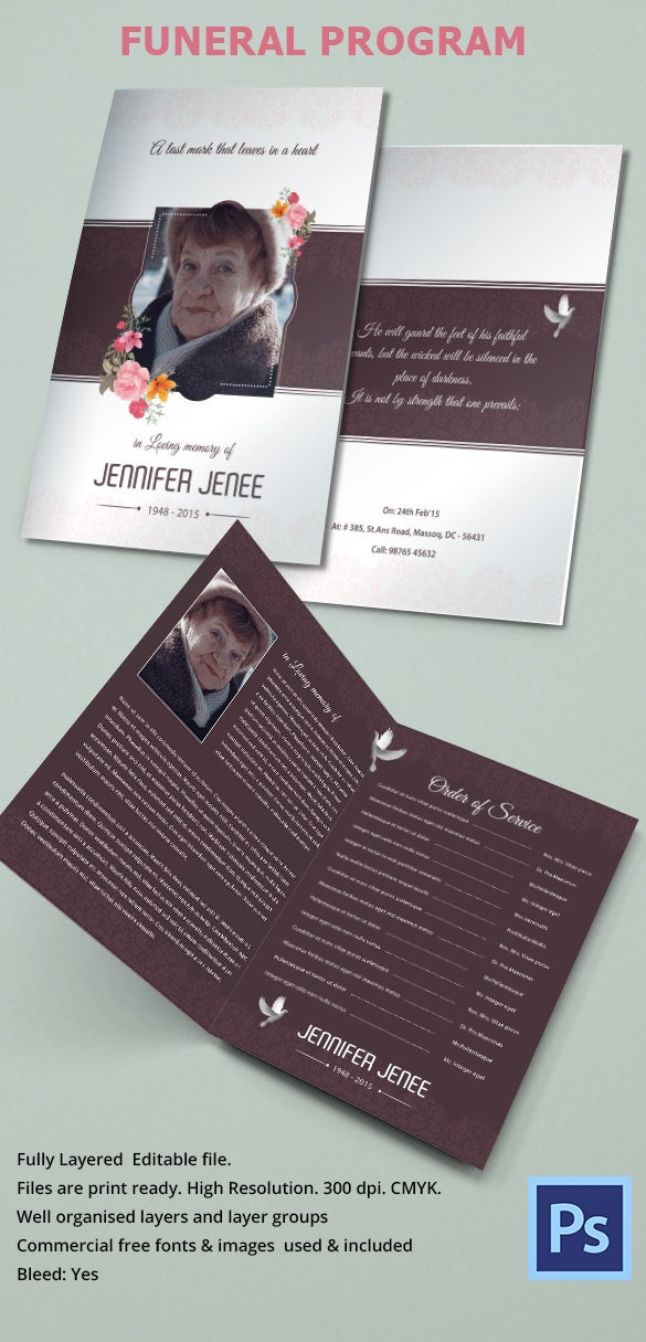 Funeral invitation template 12 free psd vector eps ai for Funeral brochure templates free