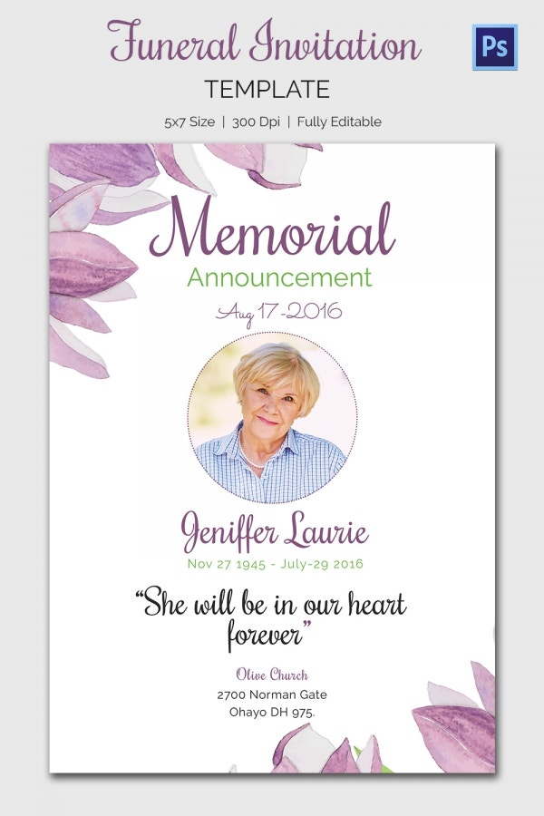 15 Funeral Invitation Templates Free Sample Example Format – Funeral Reception Invitation