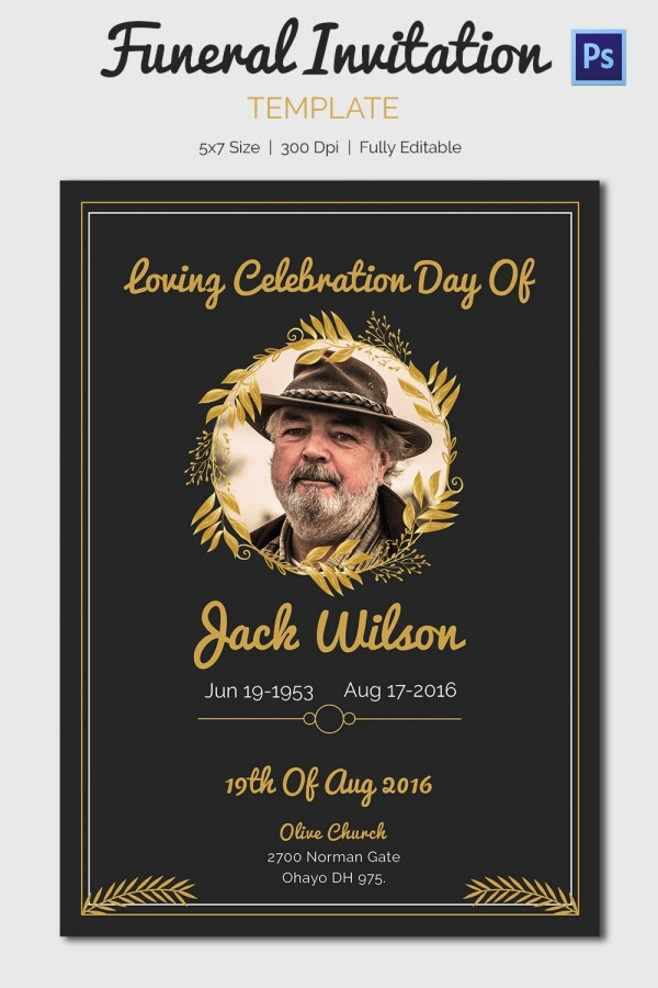 Funeral Invitation Template 12 Free PSD Vector EPS AI Format – Funeral Invitation Cards