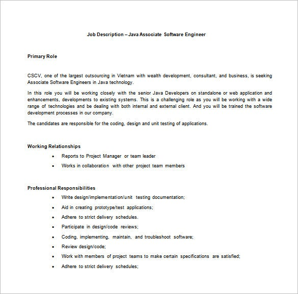 Software Engineer Job Description Templates  Free Sample