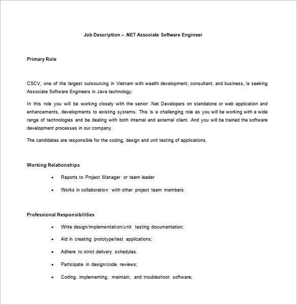 net associate software engineer free word template - Responsibilities Of A Software Engineer