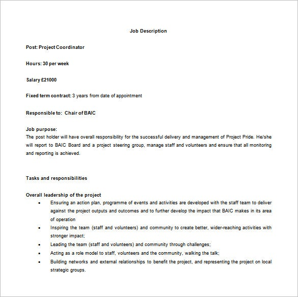 project coordinator job description free word template