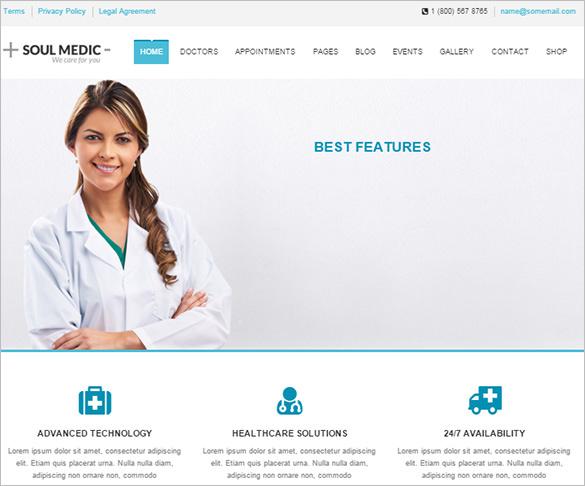 flat responsive medical health website theme