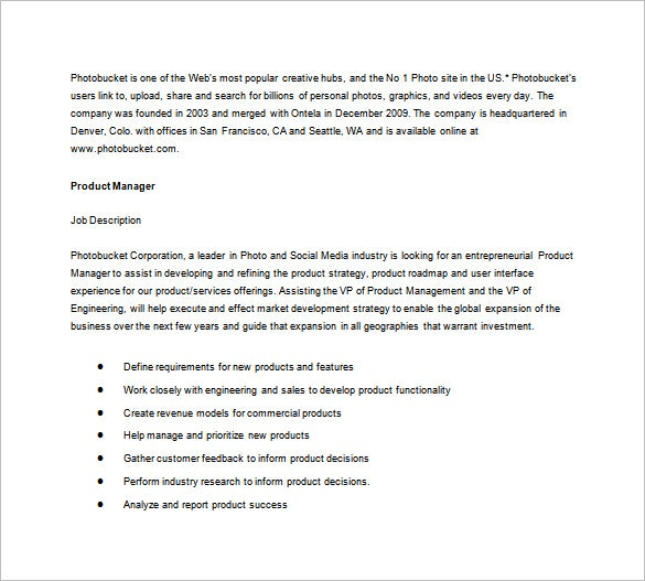 photobucket product manager job description free word template