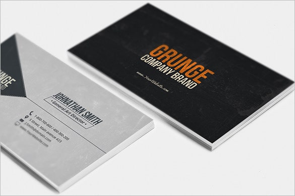 25 grunge business cards free psd eps ai indesign word pdf the black front will just feature your brand name and logo at the center of the card the back side is in light grey where you can write your name and add reheart Gallery