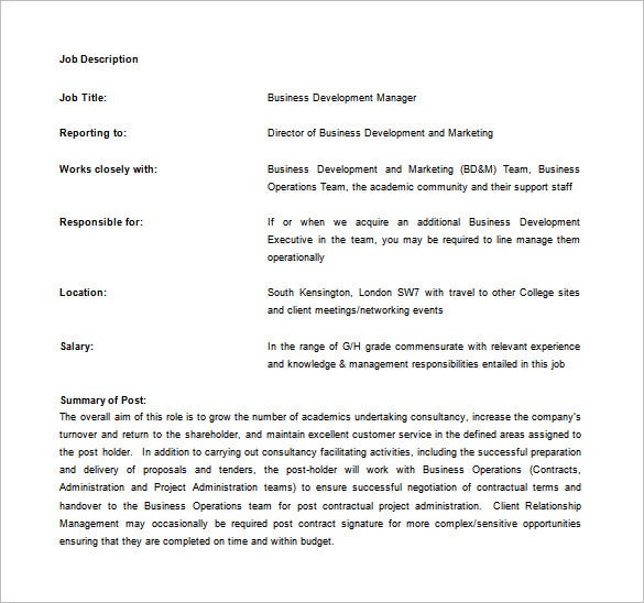 Best solutions for business development job description template.