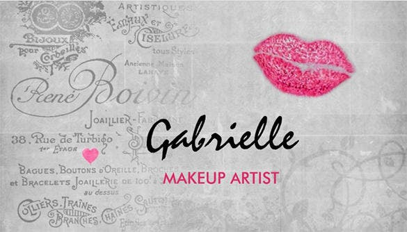 girly vintage grunge pink lips kiss makeup artist double sided standard business cards