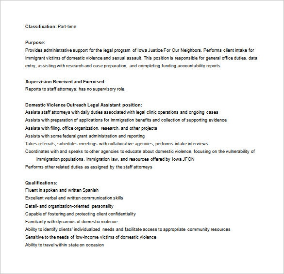 Legal Assistant Job Description Templates  Free Sample