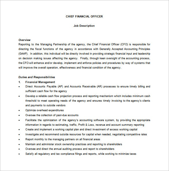 Cfo job description template 9 free word pdf format for Training officer job description template