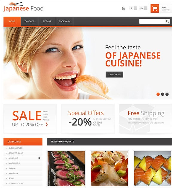 japanese restaurant prestashop template