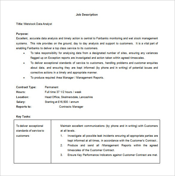 wetstock data analyst job description word free download