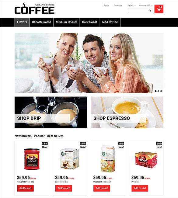 online coffee restaurant prestashop theme