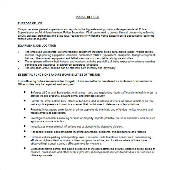 11 Police Officer Job Description Templates Free Sample