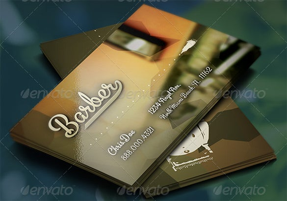 20 barber business cards free psd eps ai indesign word pdf barber business card template the blurred image of the mirror reminds instantly of a barber shop and complements the feel of the overall card wajeb Image collections