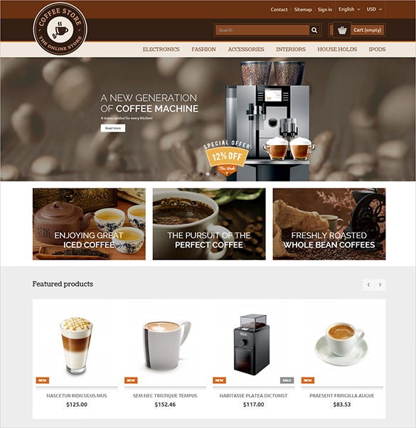 responsive online coffee restaurant prestashop theme