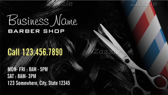 silver scissor professional barber business cards