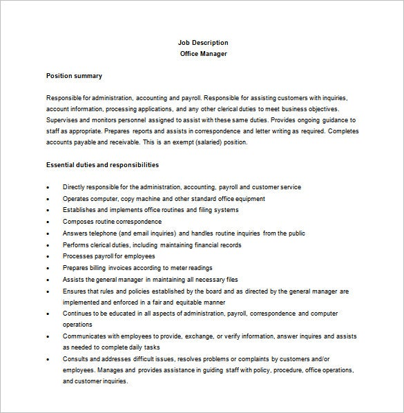 Office manager job description template image collections - Office administration executive job description ...