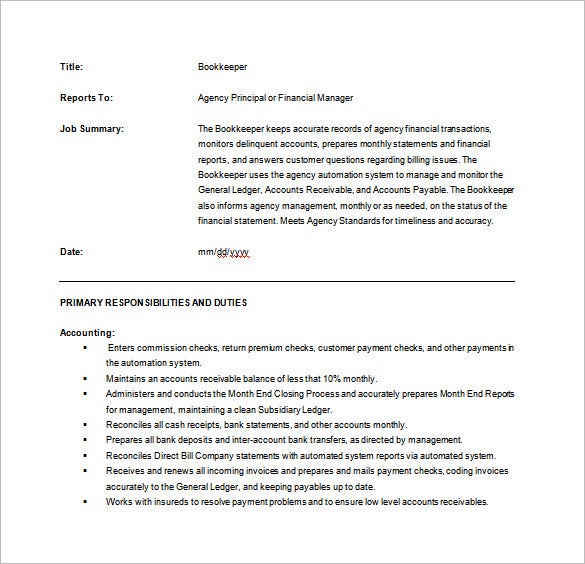 Bookkeeper Job Description Templates  Free Sample Example