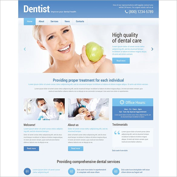 dentist psd template download