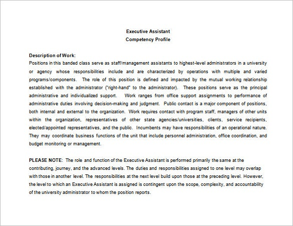 Executive Assistant Job Description Template   Free Word Pdf