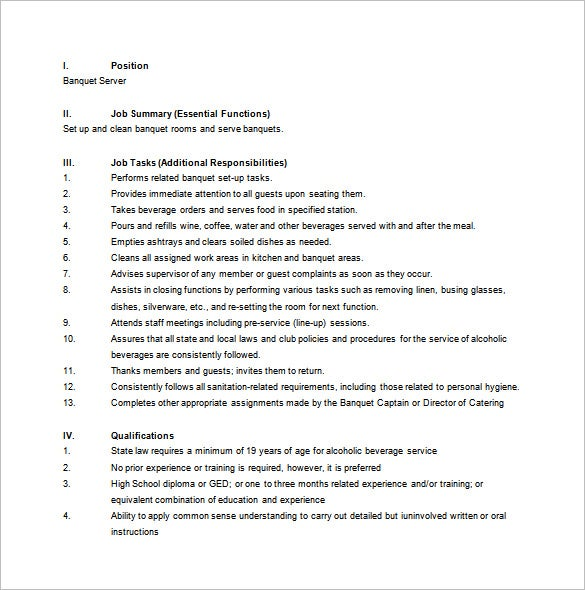 Server Job Description Templates  Free Sample Example Format