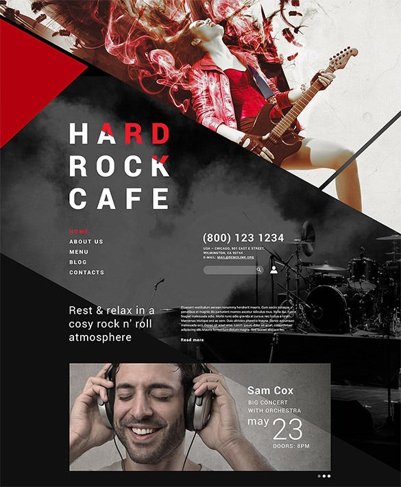 hard rock restaurant joomla template