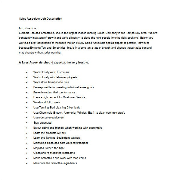 Sales Associate Job Description Template   Free Word Pdf Format