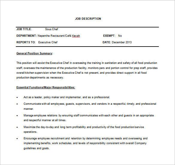 responsibilities of a chef executive chef job description - Xecutive Resume Examples