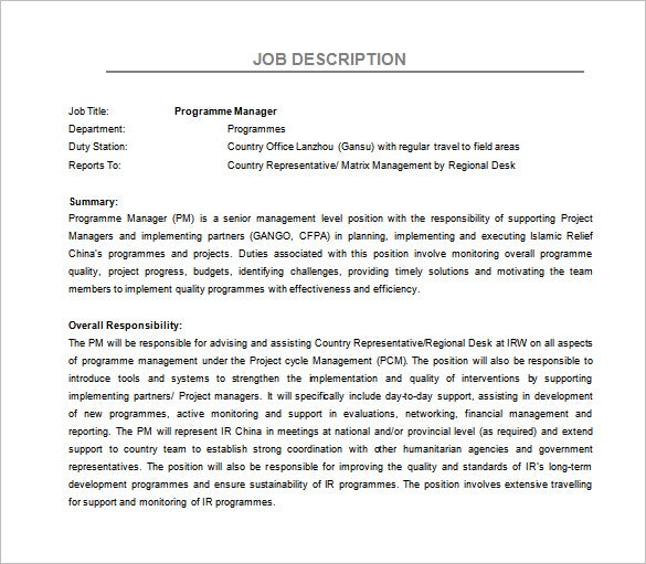 program manager job description free word template