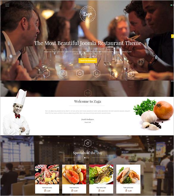 zaga responsive onepage restaurant template