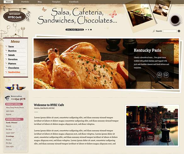 cafe restaurant joomla theme