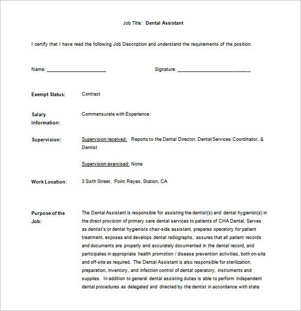 dental assistant job description free word template