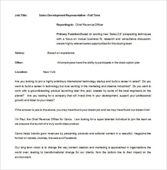 sales development representative job description free word
