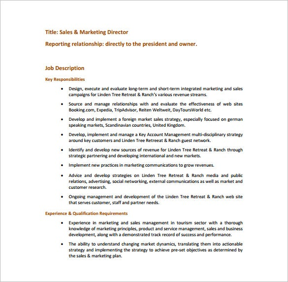 Marketing Director Job Description Template 7 Free Word PDF – Sales Director Job Description