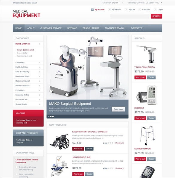 high tech medical equipment magento theme