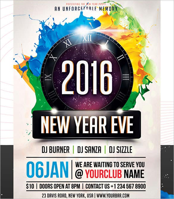 printable new year party flyer 2016 for clubs