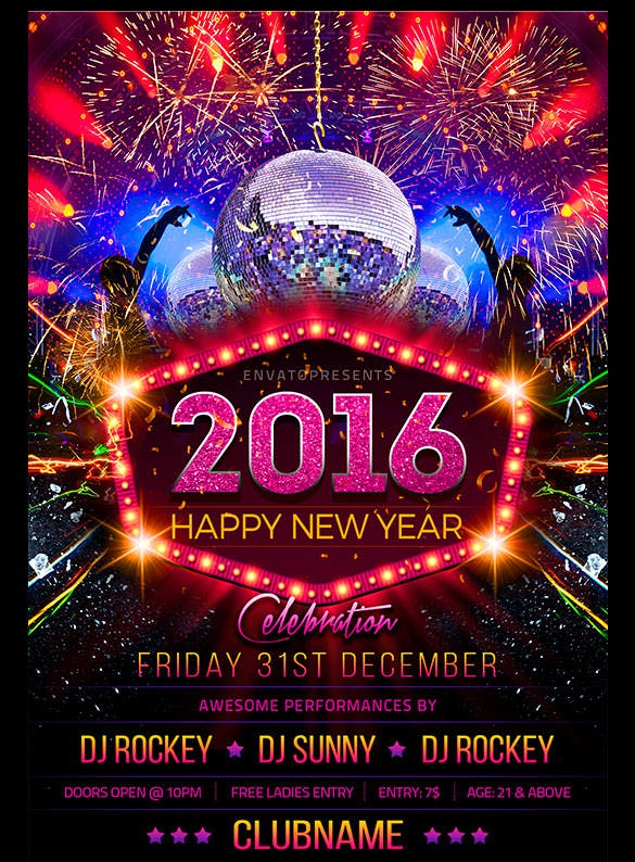 25 New Year Flyer Templates 2016 Free PSD EPS Indesign Word – New Year Poster Template
