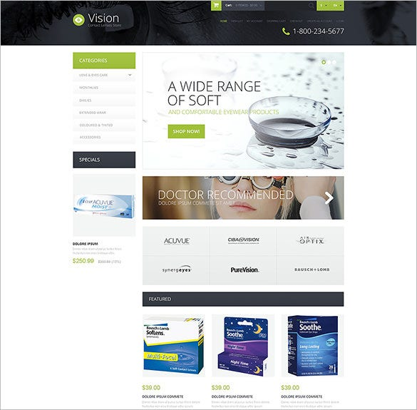 contact lens store opencart template