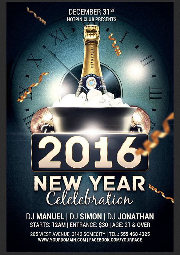 new year celebration flyer template photoshop psd download