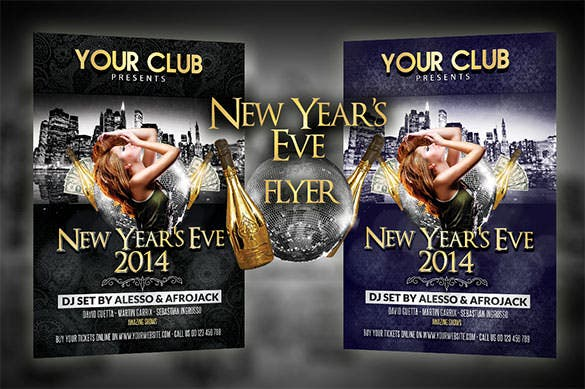 new years eve party flyer template download premium psd