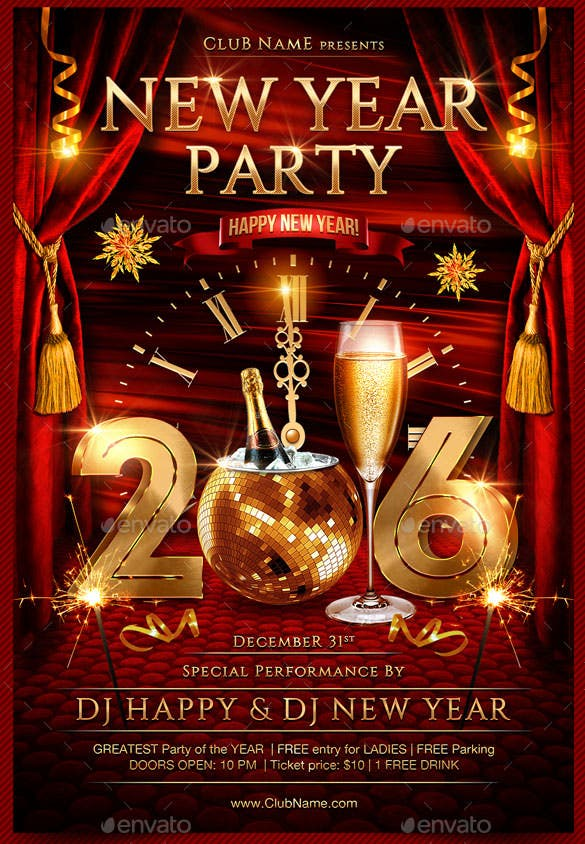 new year party flyer template photoshop psd