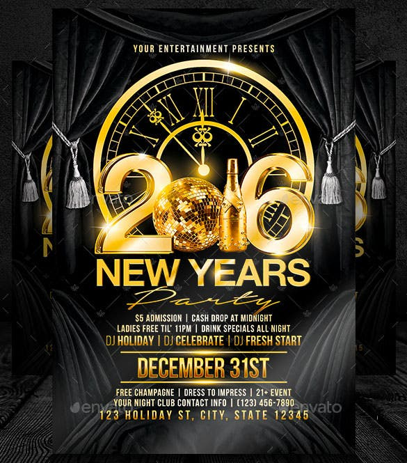 New Year Flyer Templates   Free Psd Eps Indesign Word