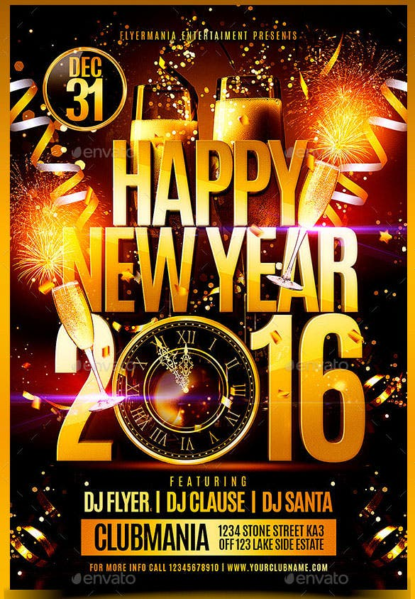 25 new year flyer templates 2016 free psd eps