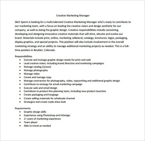 creative marketing director job description pdf free template