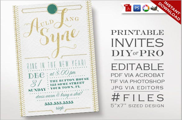 white color new years invitation template download