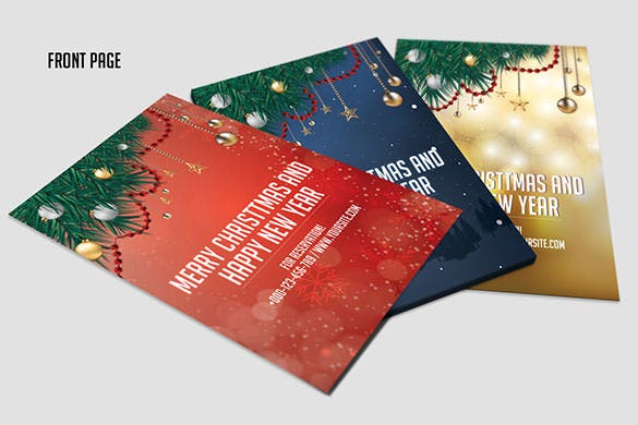 3 christmas new year invitation template psd format
